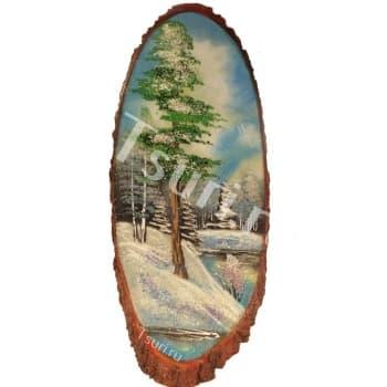 Картина на срезе дерева Зимний день