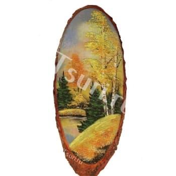 Картина на срезе дерева Золотой Лес