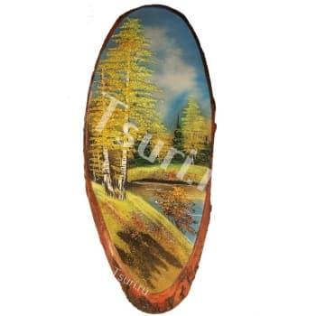 Картина на срезе дерева Золотая Осень