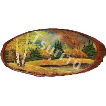 Картина на срезе дерева Осень