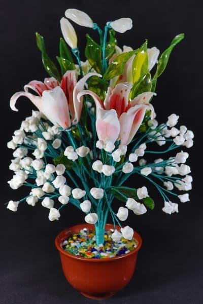 Цветок из стекла букет радость белый