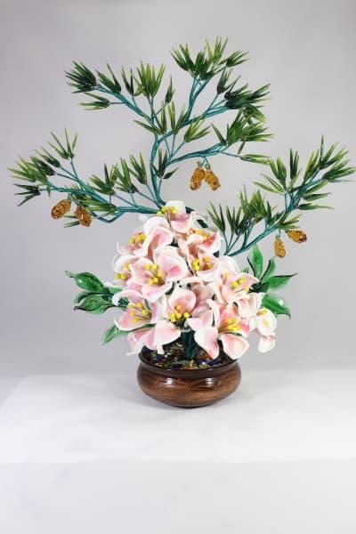 Цветок из стекла цветочная композиция белый