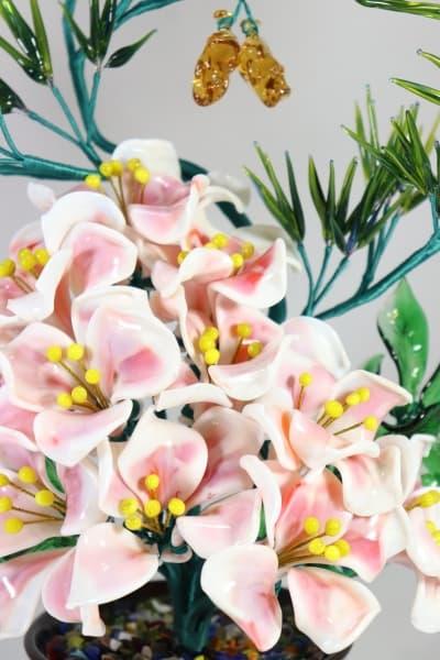Подарок из стекла цветочная композиция белый