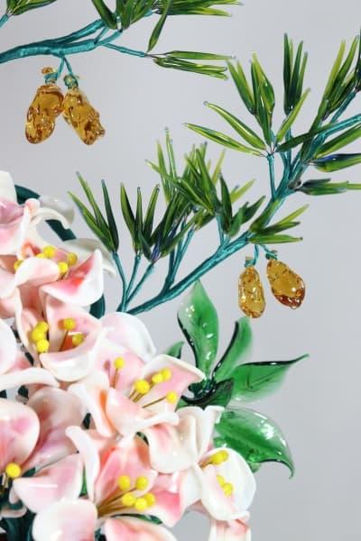 Сувенир из стекла цветочная композиция белый