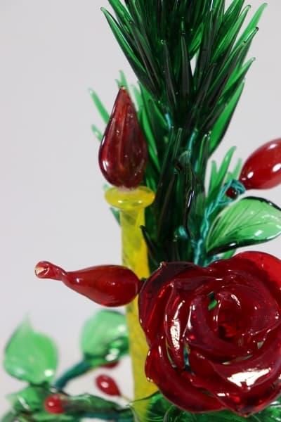 Сувенир из стекла букет праздничный красный