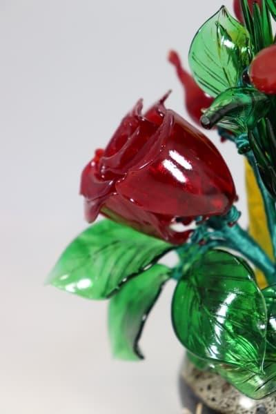 Подарок из стекла букет праздничный красный