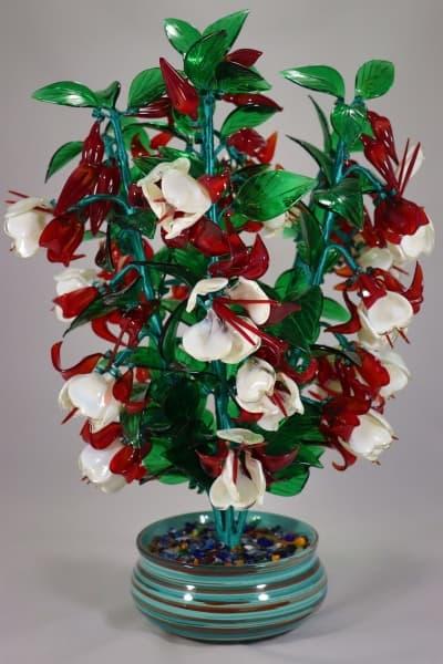 Цветок из стекла сережки леди сувенир красный