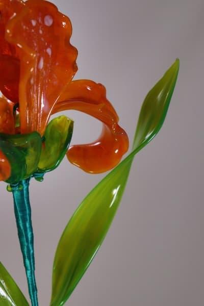 Подарок из стекла ирис оранжевый оранжевый