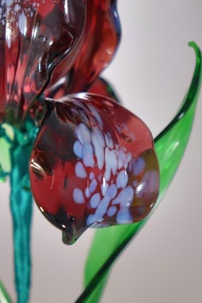 Подарок из стекла ирис фиолетовый синий