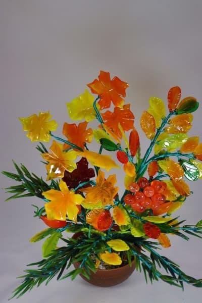 Цветок из стекла букет осень красный