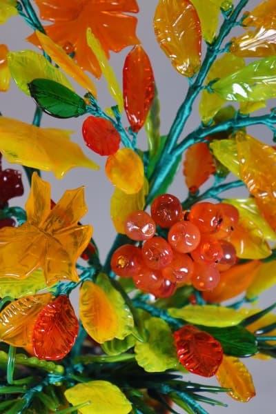 Подарок из стекла букет осень красный