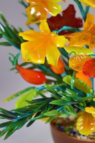 Сувенир из стекла букет осень красный
