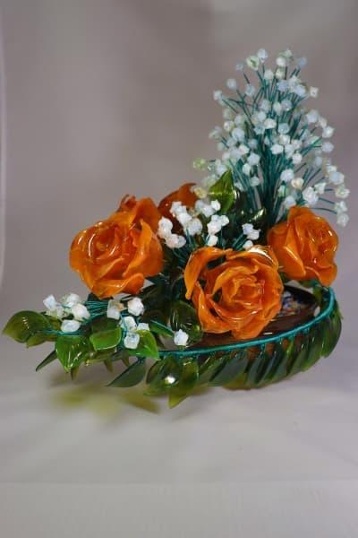Цветок из стекла букет из роз и ландышей оранжевый