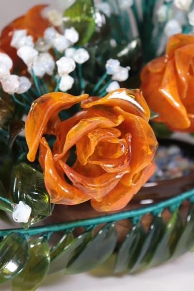 Подарок из стекла букет из роз и ландышей оранжевый
