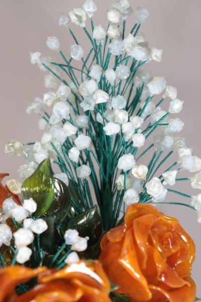 Сувенир из стекла букет из роз и ландышей оранжевый