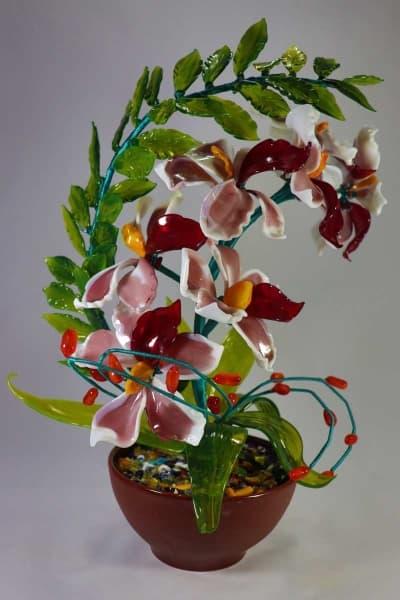 Цветок из стекла цветочная композиция красный