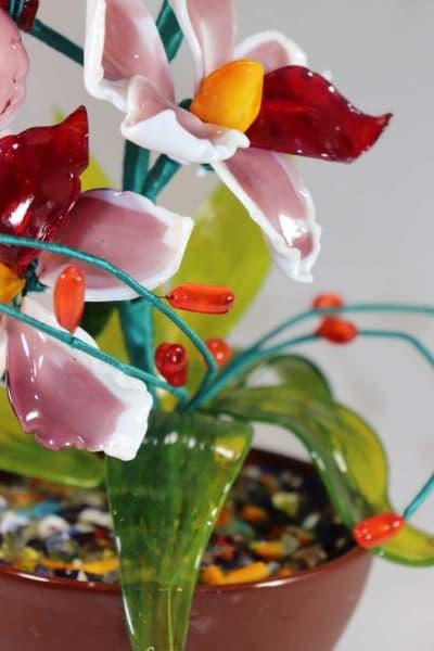 Подарок из стекла цветочная композиция красный