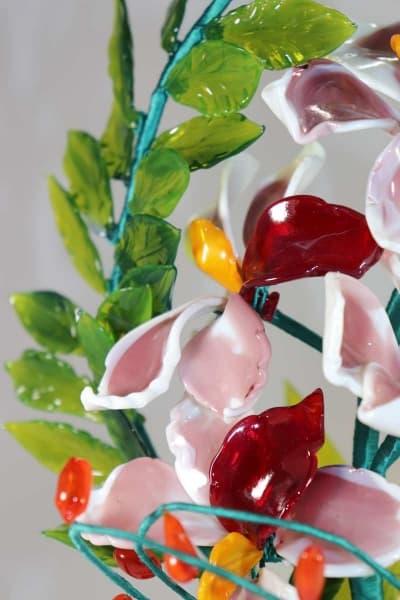 Сувенир из стекла цветочная композиция красный