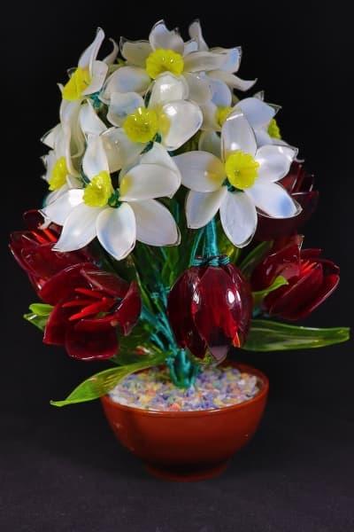 Цветок из стекла букет восхищение белый
