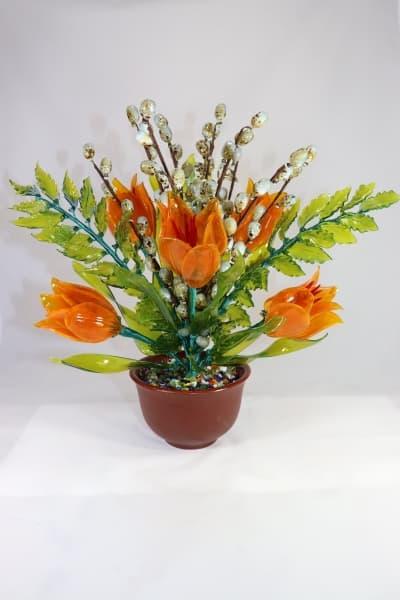 Цветок из стекла цветочная композиция оранжевый