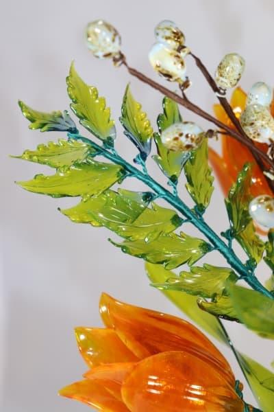 Подарок из стекла цветочная композиция оранжевый