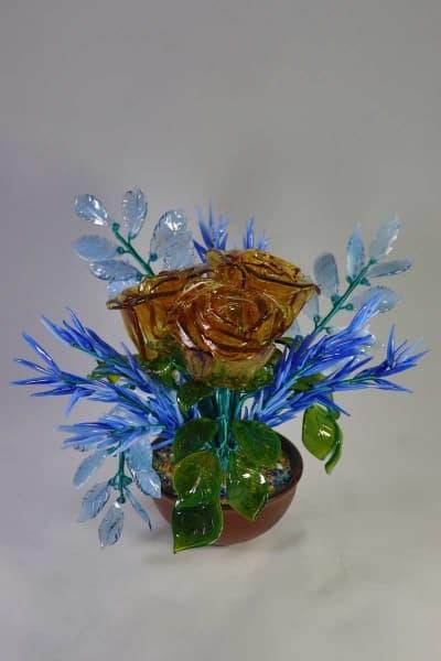 Цветок из стекла букет зимние розы синий