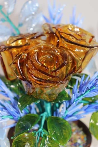 Подарок из стекла букет зимние розы синий