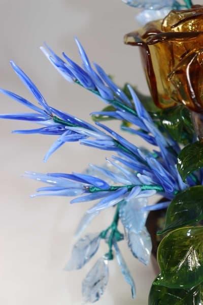 Сувенир из стекла букет зимние розы синий