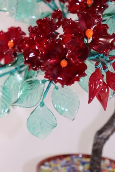 Подарок из стекла Красное Цветочное древо