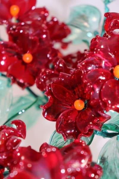Стеклянный сувенир Красное Цветочное древо