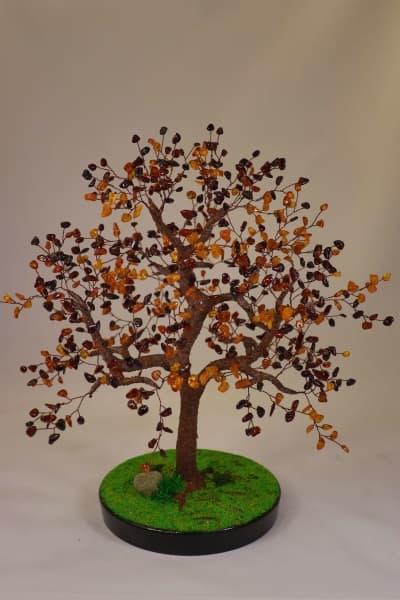 Дерево счастья из янтаря ru00542y из камня янтарь