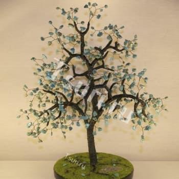 Дерево Бирюзовое счастье из камня