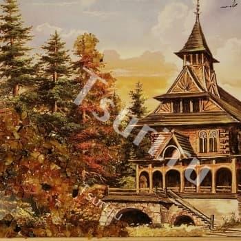 Картина с янтарём Пейзаж
