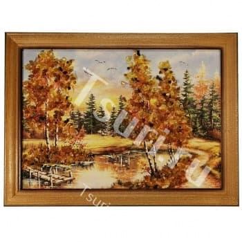 Картина с янтарём У озера
