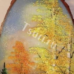 thumb_1144319a Картина на срезе дерева золотой лес