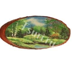 Картина на срезе дерева Лето