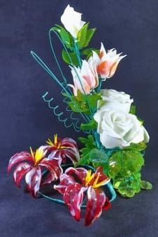 thumb_glass00140a Сувенир из стекла цветочная композиция ручной работы