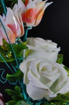 thumb_glass00140b Сувенир из стекла цветочная композиция ручной работы