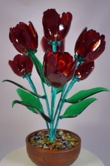 thumb_glass00177 Сувенир из стекла букет тюльпаны ручной работы