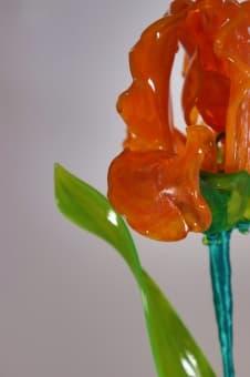 thumb_glass00183orb Сувенир из стекла ирис оранжевый ручной работы