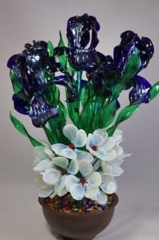 thumb_glass00186 Сувенир из стекла Цветочный Букет ручной работы