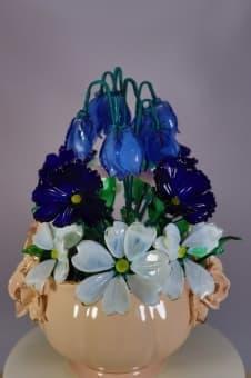 thumb_glass00324 Сувенир из стекла цветочная корзинка ручной работы