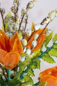 thumb_glass00374b Цветок из стекла лилия, папоротник и верба