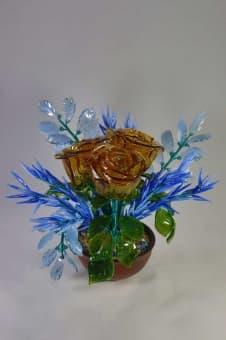 thumb_glass00385 Сувенир из стекла букет зимние розы ручной работы